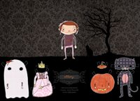 Halloween digital paper doll
