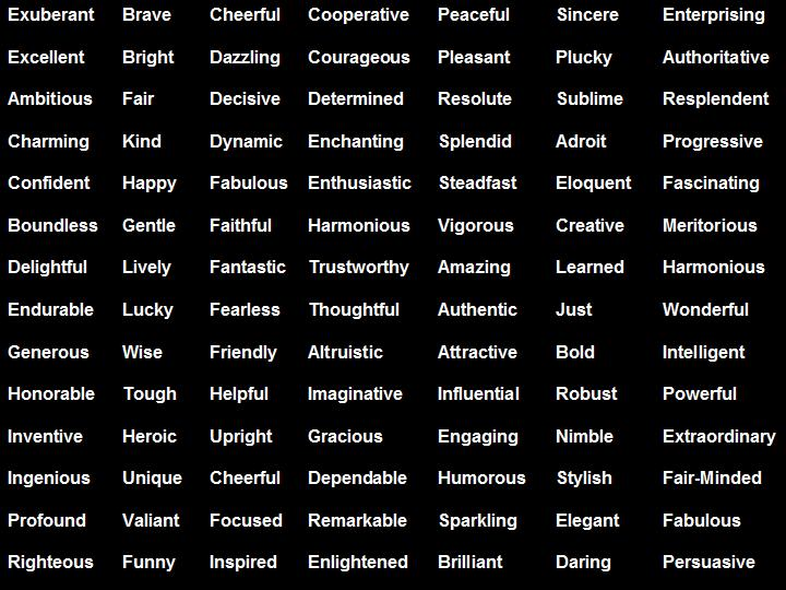 Letter Positive Adjectives