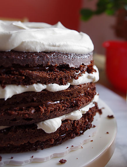 Six layer chocolate pudding whip cream cake