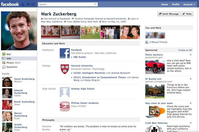 facebook page layout. Switch To New Facebook Profile
