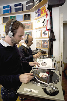 Most record shops with vinyl selections have turntable listening stations. Here, customers give records a trial spin at Sounds of the Universe, in Soho.