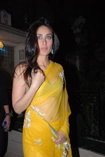 Kareena Kapoor Navel in Yellow Saree