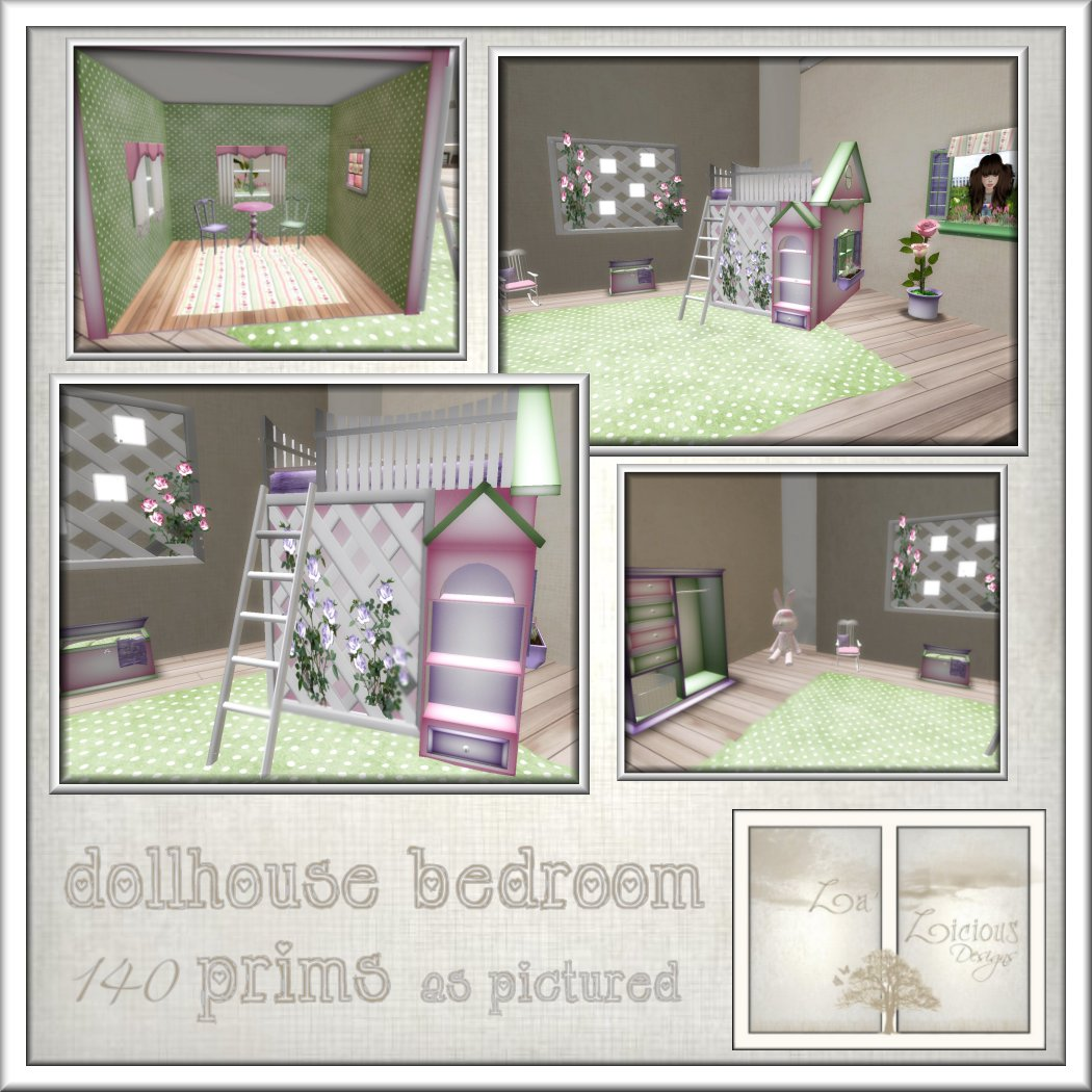La 39 licious designs new dollhouse bedroom for Dollhouse bedroom ideas
