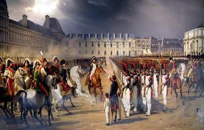 Revista militar frente al palacio de Las Tullerías (Inválido presenta petición al emperador durante una revista militar)
