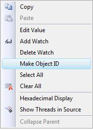 Context menu: Make Object Id
