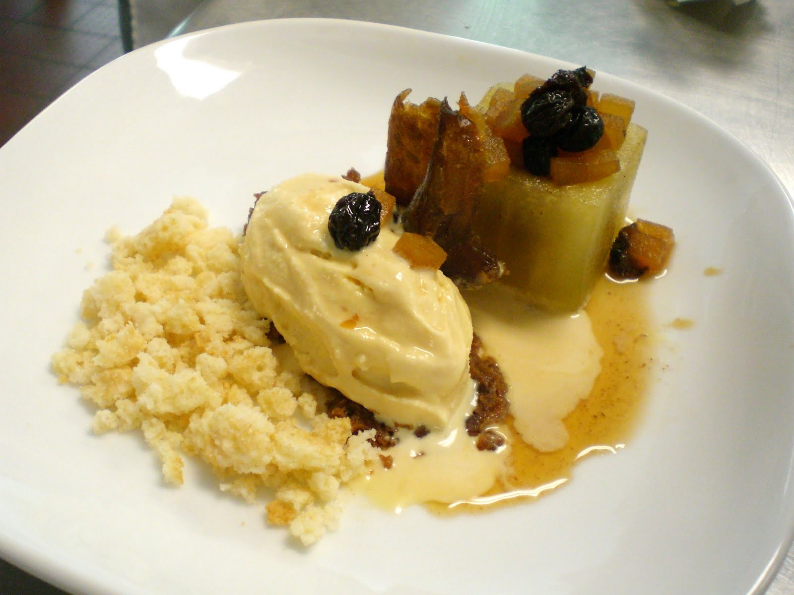 Caramel Apple Cobbler: Shortbread Crumble, Caramel ice cream, Apple ...