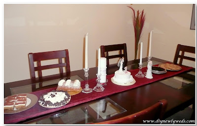 Diy newlyweds diy home decorating ideas projects our first i added a red table runner our wedding color and decorated with our unity candle another set of pretty crystal candle holders which were a wedding gift junglespirit Gallery