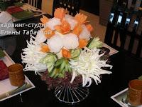 цветы из овощей украшение стола в японском ресторане
