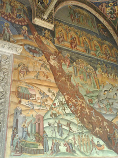 Horezu Monastery entrance paintings, right side, Romania, UNESCO Patrimony