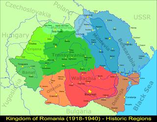 Romanian map at 1918-1940