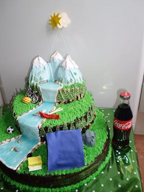 tamaño de la tarta de paisaje con cocacola