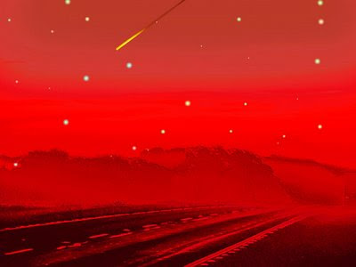 art166 digital contemporary landscape red alien stars comet Mars photo-manipulation