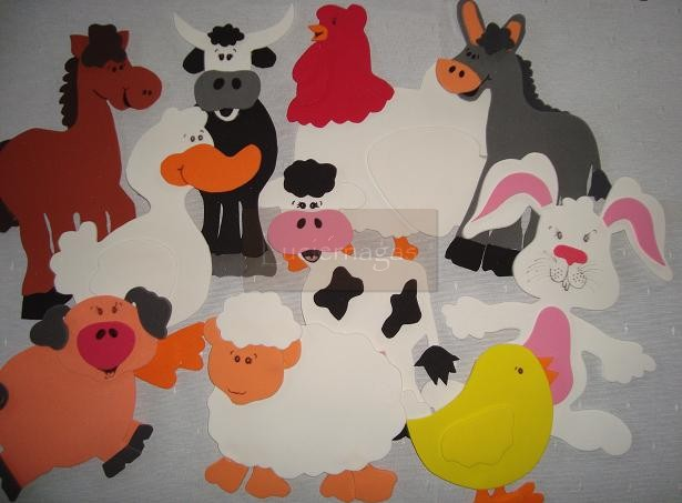 Moldes en foamy de animales de la granja - Imagui