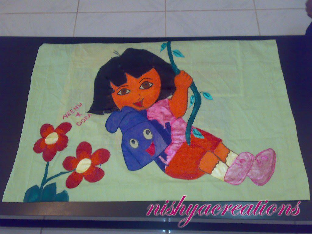 Pillow Cover design (Dora) for kids using fabric paint..... again. & Pillow Cover design (Dora) for kids using fabric paint..... again ... pillowsntoast.com