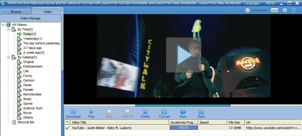 Justin Bieber's YouTube video 'Baby' downloaded!