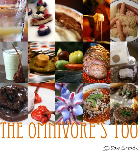 picture photograph image of some of the foods I have eaten from Omnivore's 100 meme 2008 copyright of sam breach http://becksposhnosh.blogspot.com/
