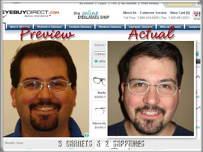 eyeglasses direct 1jdz  I think the EyeTry photo differs from the actual photo for two reasons  First, my husband has lost a little weight in his face since the photo on  the left