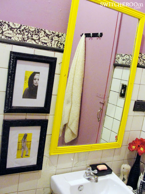 bathroom makeover, before and after bathroom, cheap DIY makeover, pink bathroom, swithcheroom, pink and black bathroom, yellow mirror