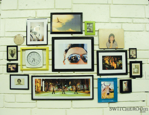 diy frame gallery, wall frame, black frames, white wall, switcheroom