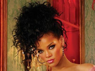 rihanna red hair long curly. Rihanna#39;s long wavy hair