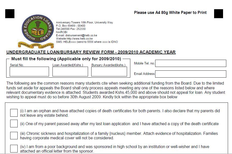 Helb Loan Application Form - Discover Student Loan Application Log In