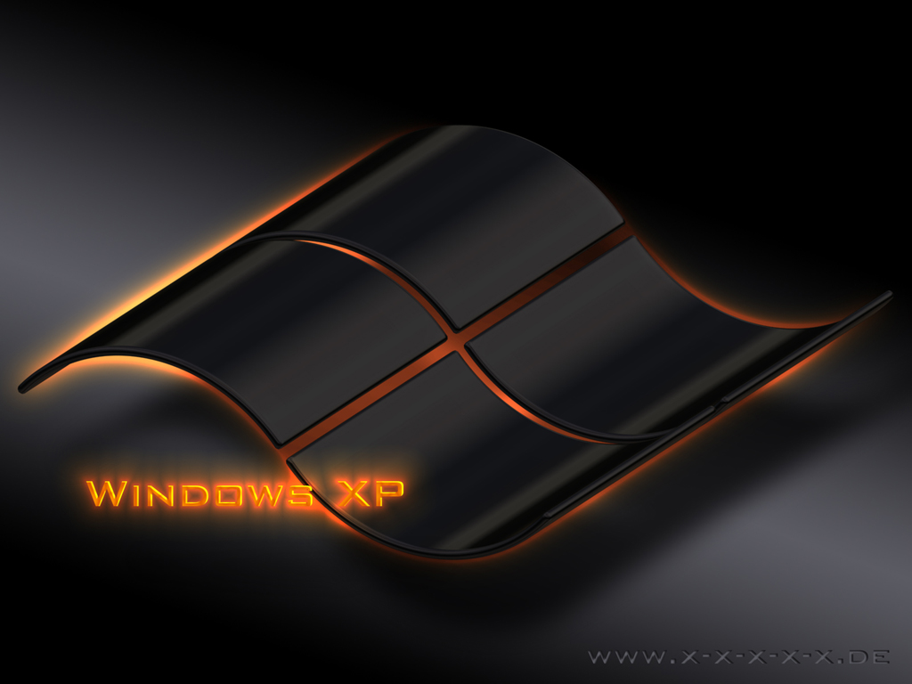 Black desktop wallpaper windows xp with orange fire white windows