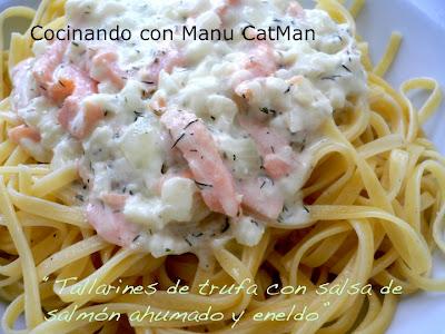receta de tallarines con salmón ahumado y eneldo