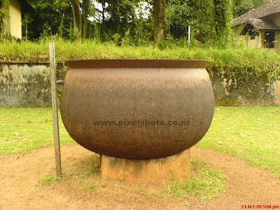 big copper vessel near the hill palace pond,called as kuttakom in malayalam language of kerala,tumbler made of alloy of copper