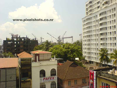 aerial view photograph of india cochin town from a flat in cochin,can see the cranes of cochin shipyard
