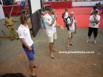 ocean race sailors giving open air interview to the public,photograph from ocean race village in cochin kerala