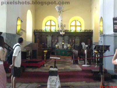 altar of st francis church of kerala,photograph from inside the christian church