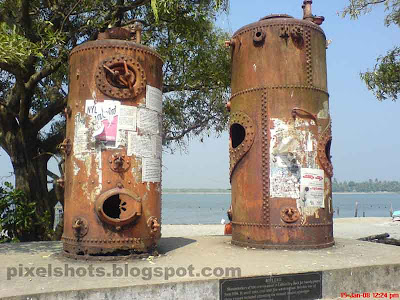 old steam boilers from fort cochin kerala india,the remainings of the old crain used for maintaining old ships of Portuguese, lord wellington and lady willington
