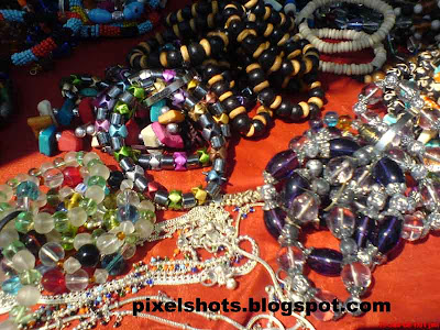 fancy chains with colourful beads from street side shop in fort cochin kerala
