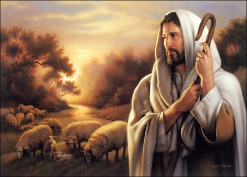 THE BIBLICAL CHRIST CARRYING A SHEPHERDS STAFF