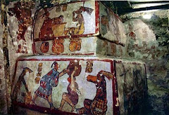 NATIONAL GEOGRAPHIC MAYAN MURALS OF DAILY LIFE DEPICT WHITE AND DARK SKINNED PEOPLE.