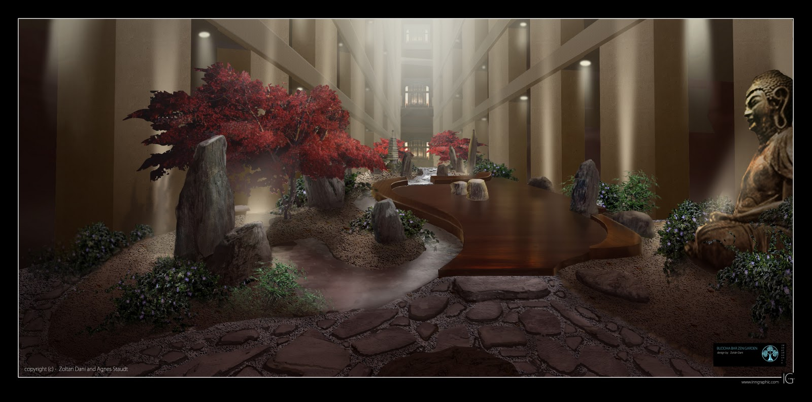 Zen garden design layout photograph buddha bar interior ze for Interior zen garden