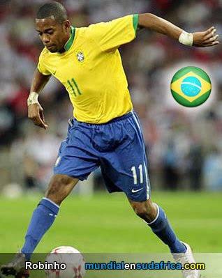 Robinho jugador del  Santos y Brasil  - Figuras del Mundial Sudafrica 2010