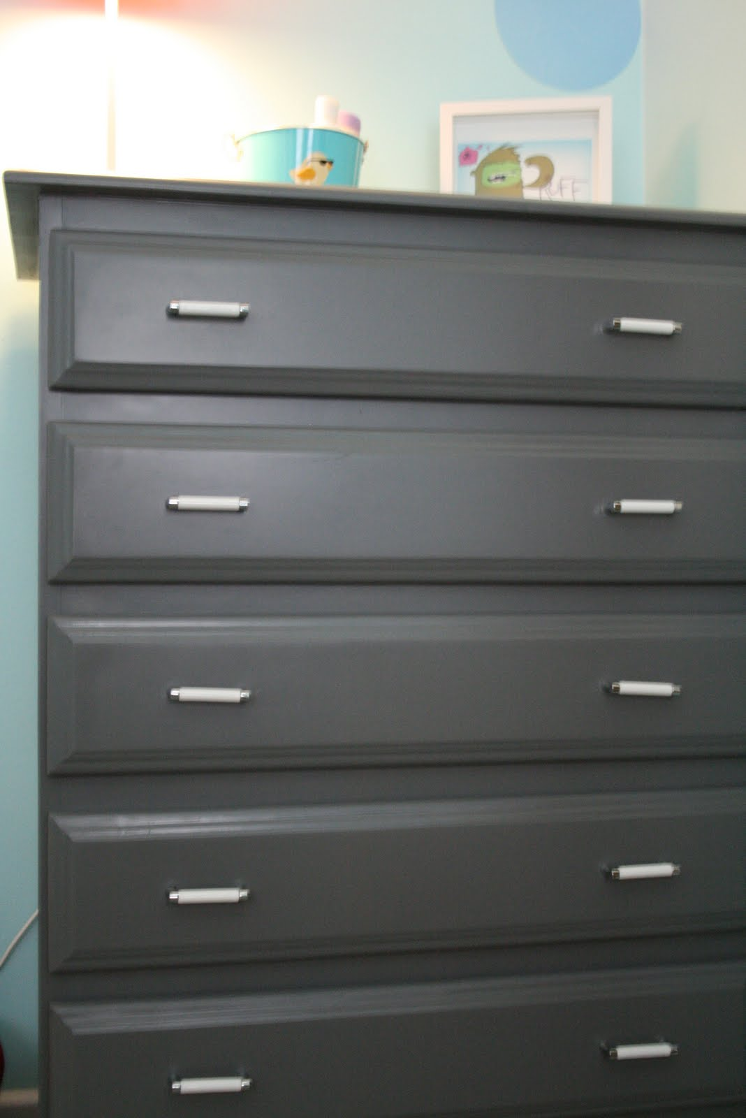 So wonderful so marvelous dresser before after for Dark grey furniture paint