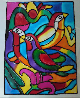 Crazy craft stained glass painting birds for Mural glass painting