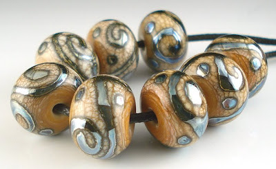 Ivory and Triton Glass Beads/BeadAbundant
