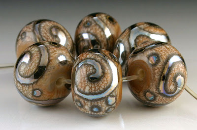 Ivory and Triton Scroll Bead Set by Beadabundant