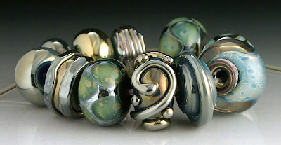 Green Metallic Lampwork Beads by beadabundant