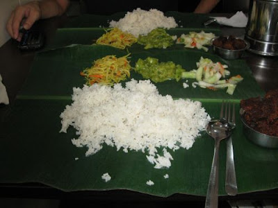 Kashmir Cafes banana leaf set with mutton varuval