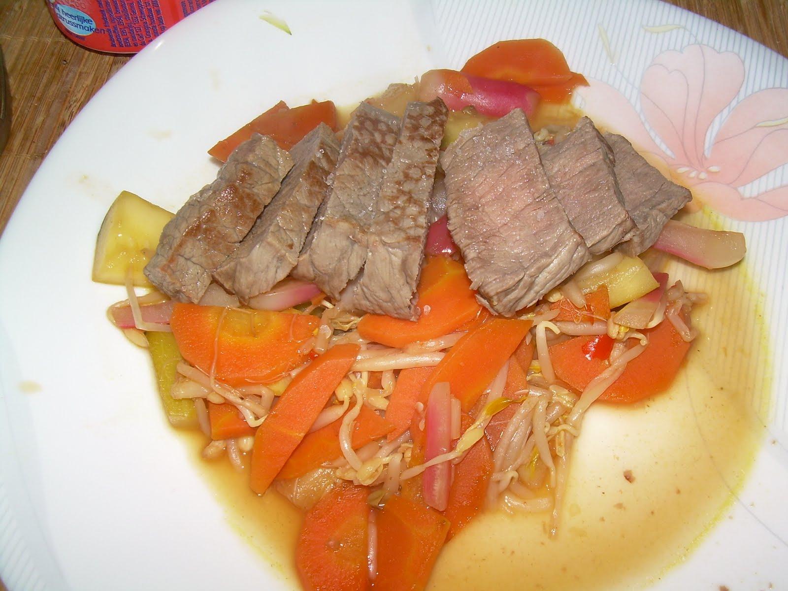Caliethancuisine pave de boeuf aux parfums de citronnelle et gingembre wok de legumes - Duree cuisson cote de boeuf ...