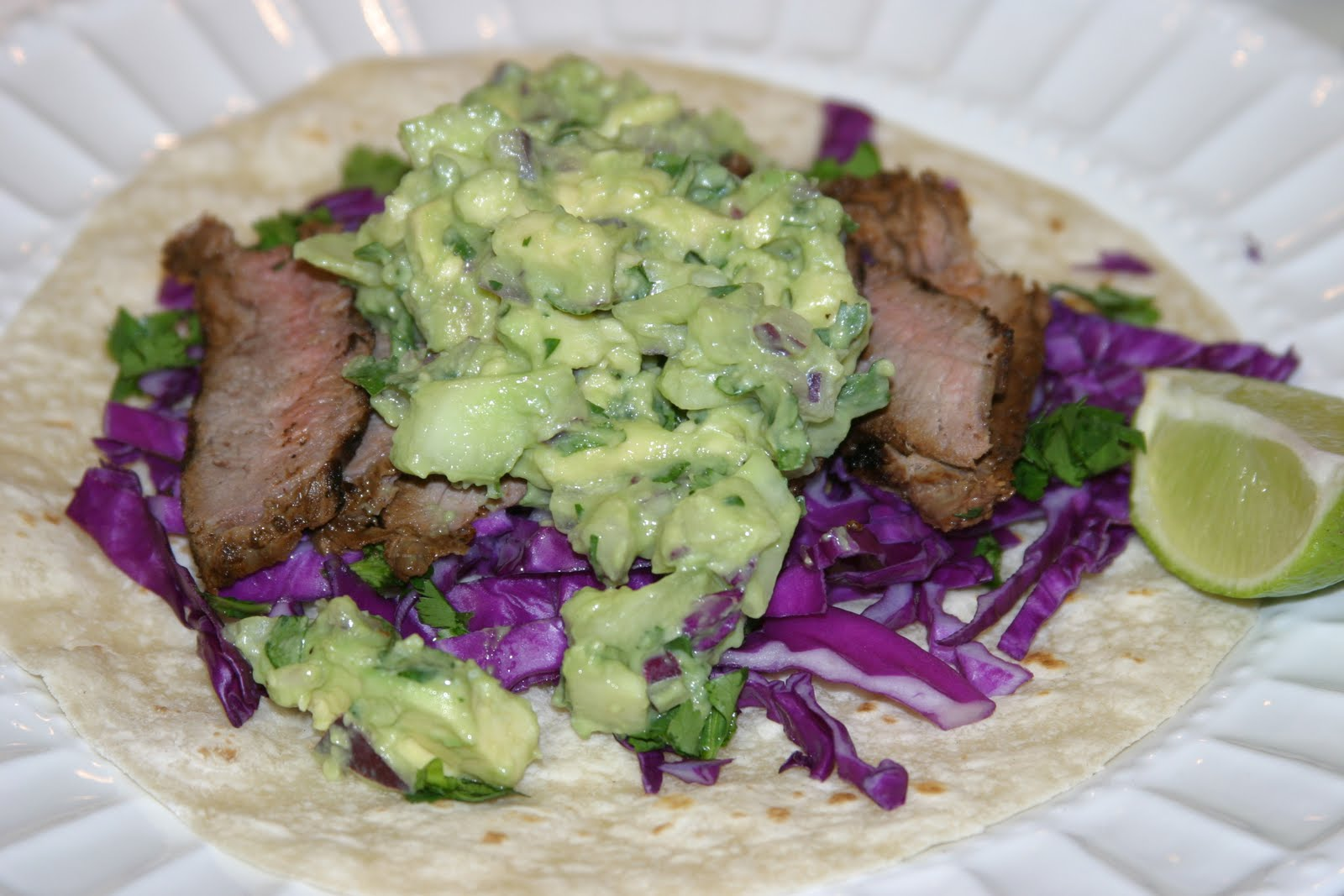 Steak Tacos with Cucumber-Avocado Salsa