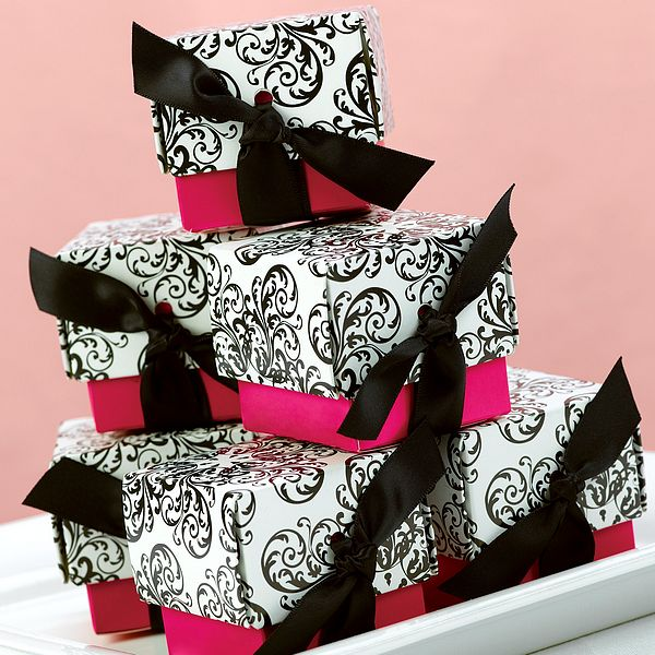 Pink and red are seen most often paired with a black and white damask
