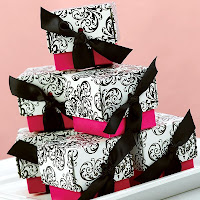 Black and Fuchsia Pink Filigree Favor Boxes with Ribbon