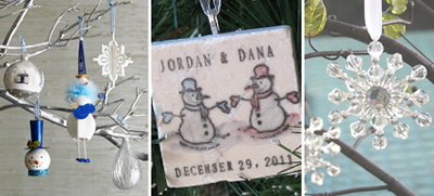 Ornament decorated tree branch centerpieces