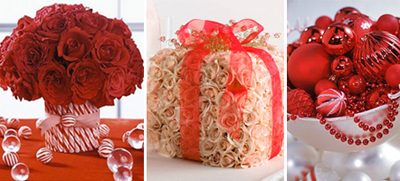 Holiday wedding centerpieces