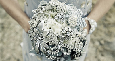 Heirloom jeweled wedding bouquet via Etsy